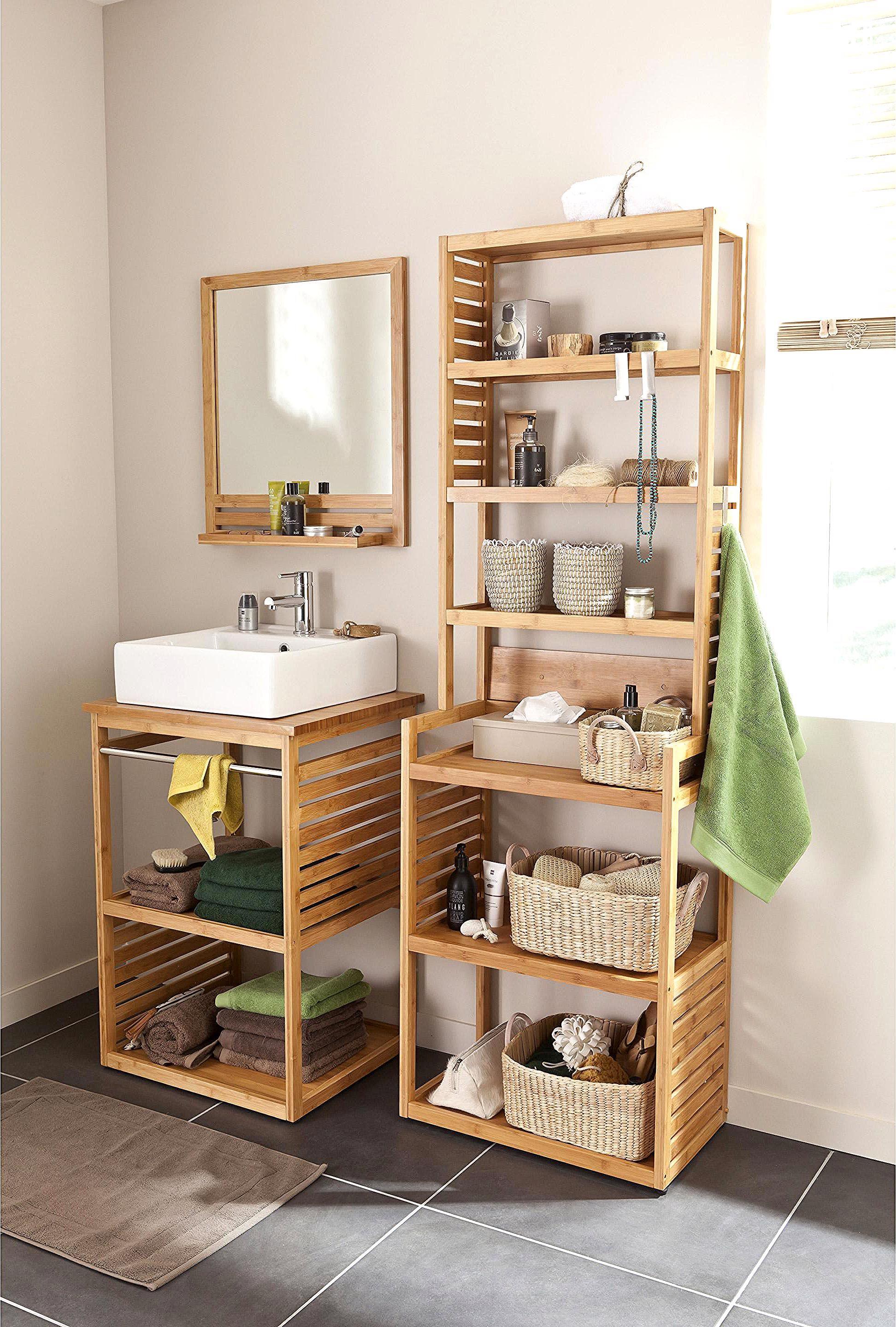 Meuble H&h : meuble, Meuble, Salle, Bains, Simple, Vasque, Bambou,, Natural, Bathroom, Decor,, Small, Furniture