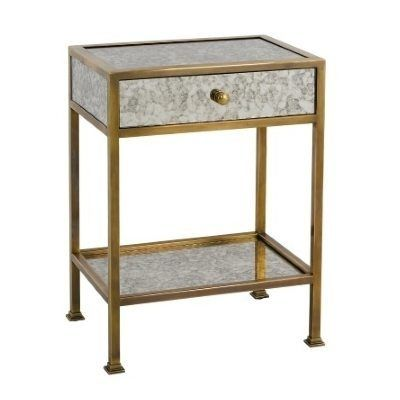 F138 Antique Mirrored Brass Plated 1 Drawer Side Table Table