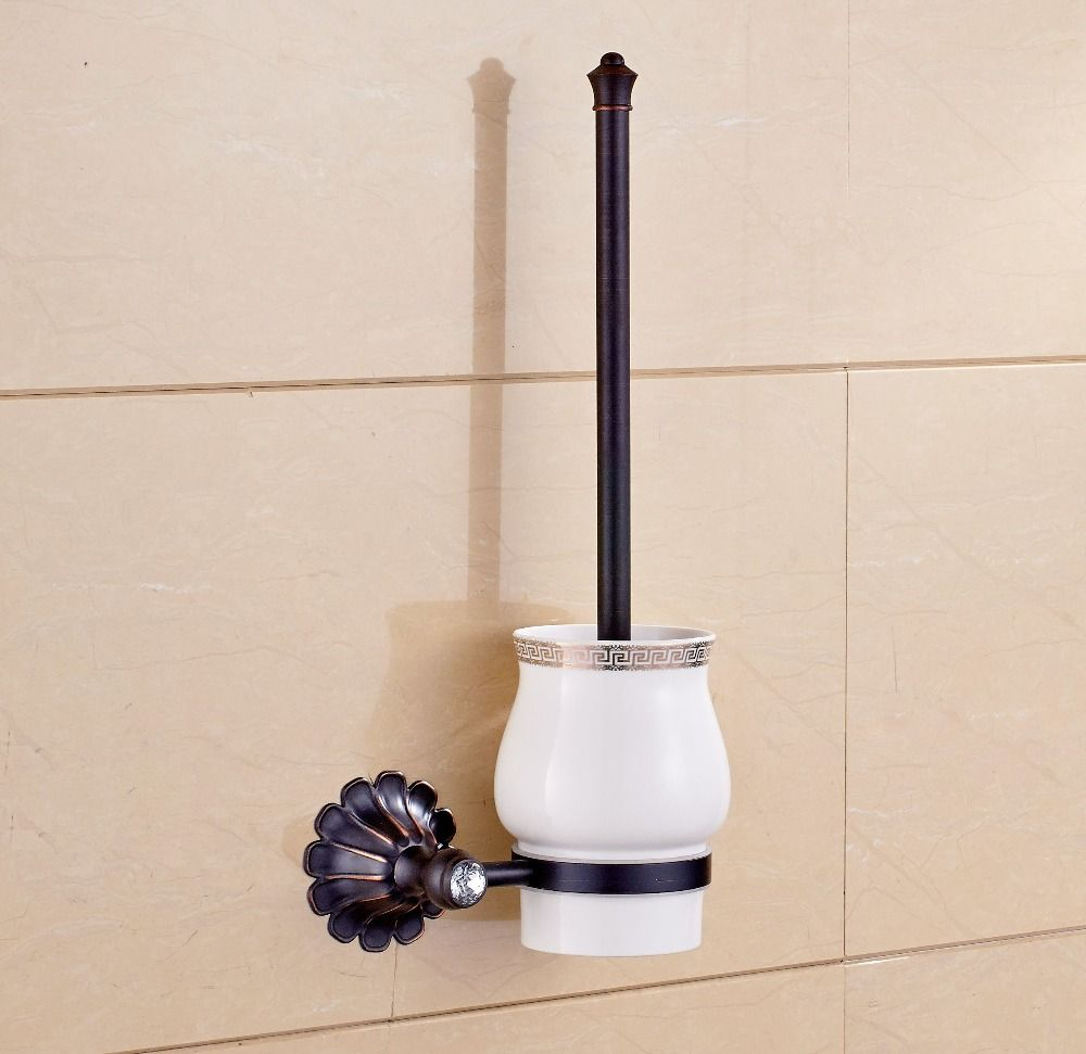 Wall Mounted Oil Rubbed Bronze Toilet Brush Holder Flower Carved Free Postage Affiliate