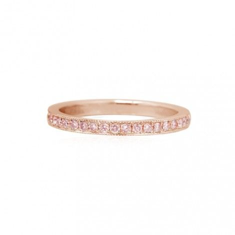 144efd987 Rose Gold Fancy Pink Diamond Half-Eternity Milgrain Wedding Band Ring, SKU  1795P-1