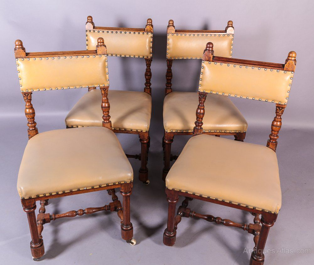 A set of 4 victorian gothic dining chairs dining chairs