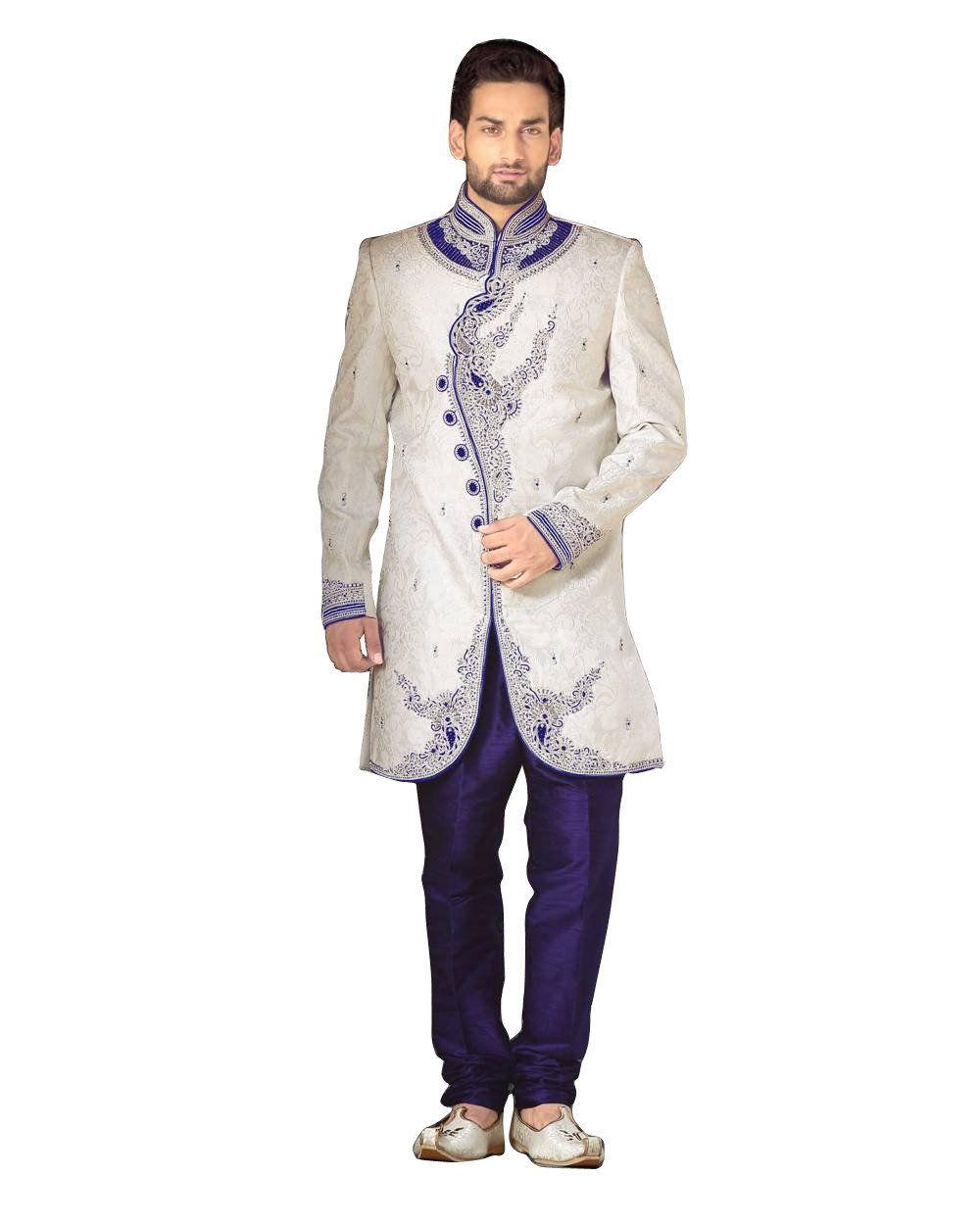 White u blue dupioni silk indian wedding indowestern sherwani for