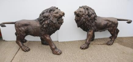 Pair Lifesize Bronze Lions Lion Statue Cat