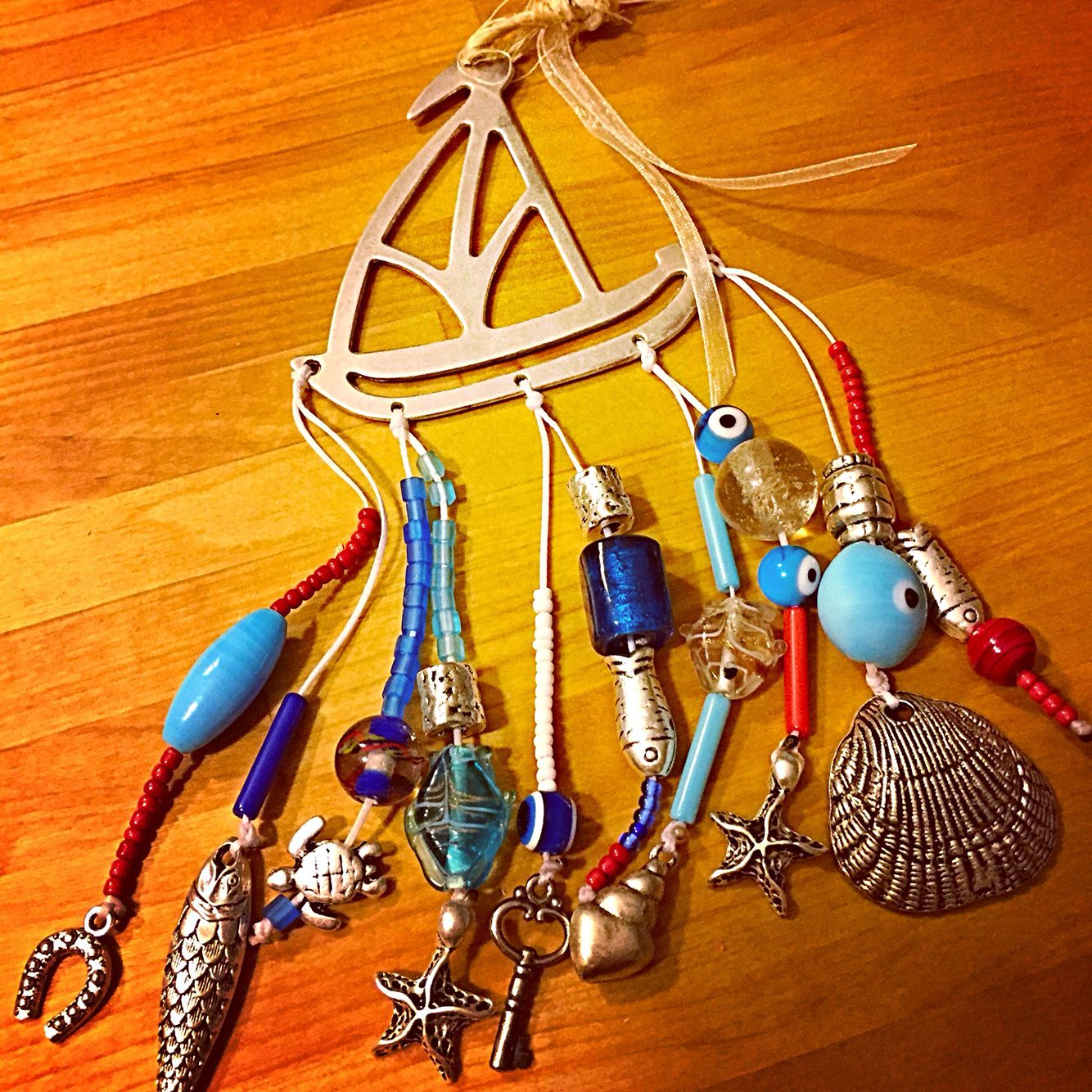 A summer charm mobile to hang at any visible place, inside or outside your home!!