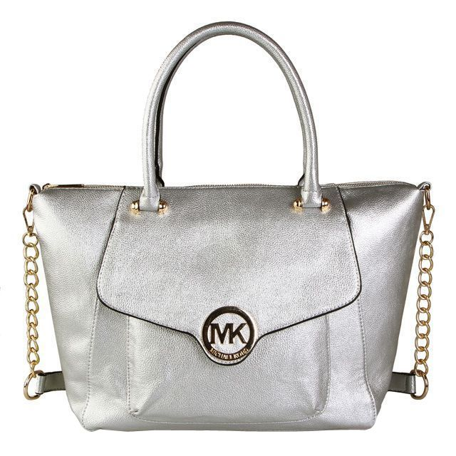 Michael Kors Fulton Leather Large Silver Satchels #AllAccessKors #NYFW | See more about fashion icons, michael kors and silver.