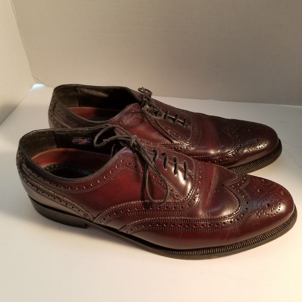 f7774b4958c Vintage Florsheim Men s Oxford Wing Tip Brown Leather Shoes Size 9.5 D   30300  Florsheim  Oxfords