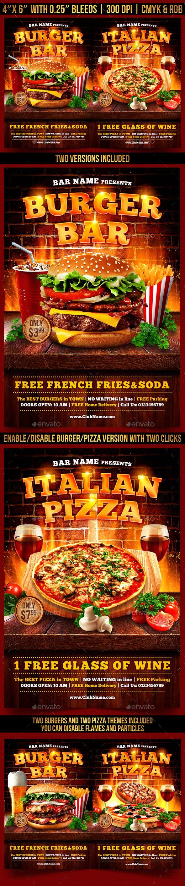 Burger and Pizza Flyer Template | Hamburguesas, Folletos y Revistas