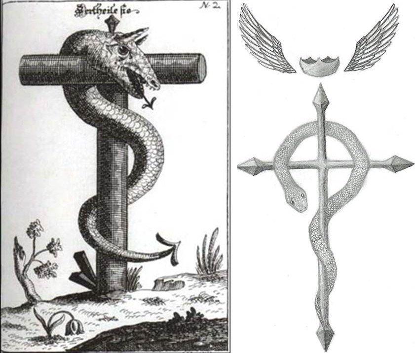 Flamel Snake Cross Crown Wings Occult Entities Pinterest