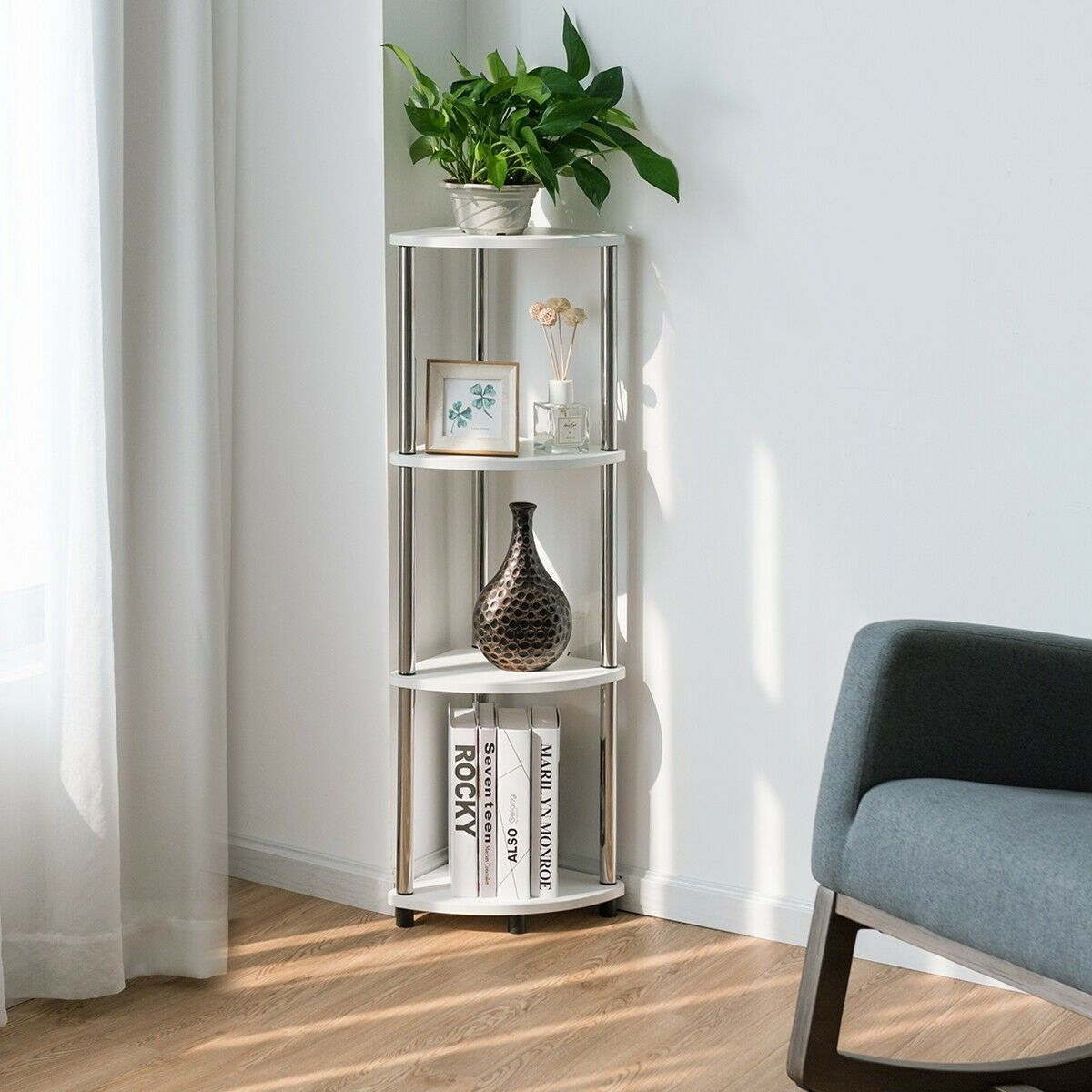 4tier light duty living room display stand corner shelf