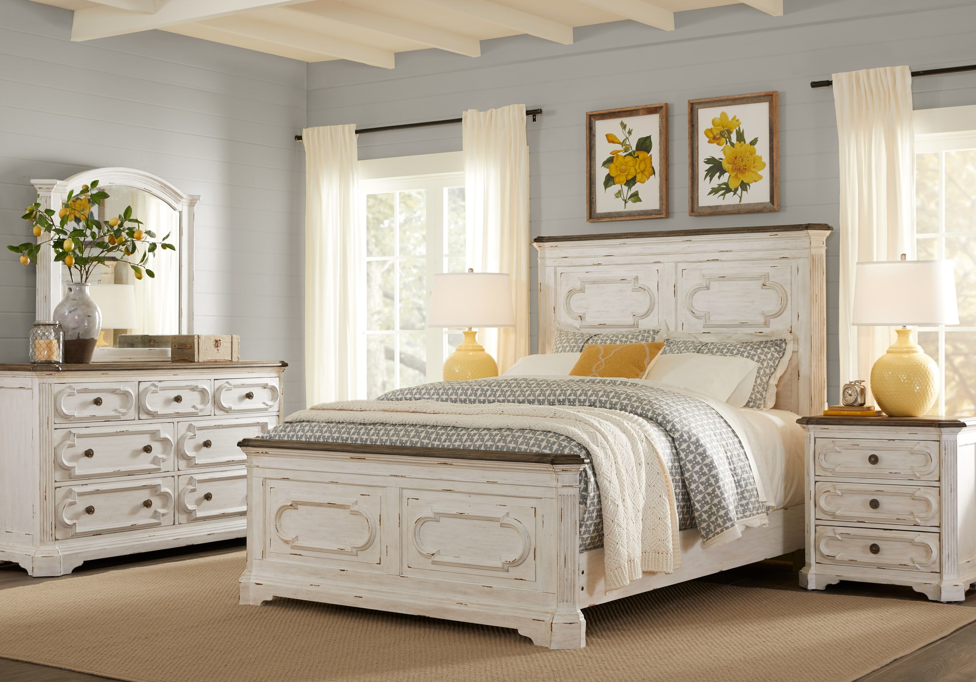 Lindenwood White 5 Pc Queen Panel Bedroom Bedroom Panel King