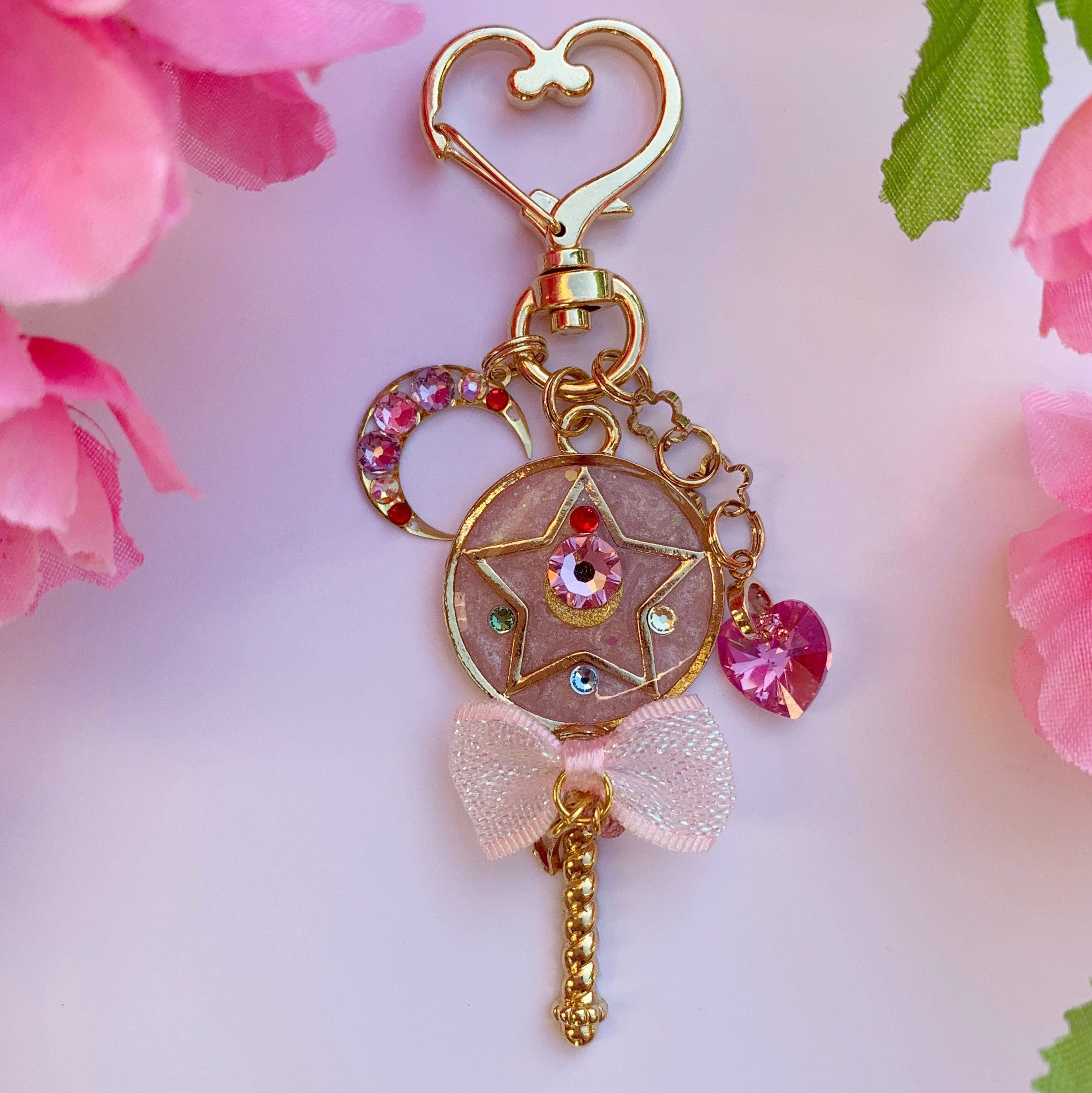 Sailor Moon Wire Art Charm Keychain Pink Moon Stick