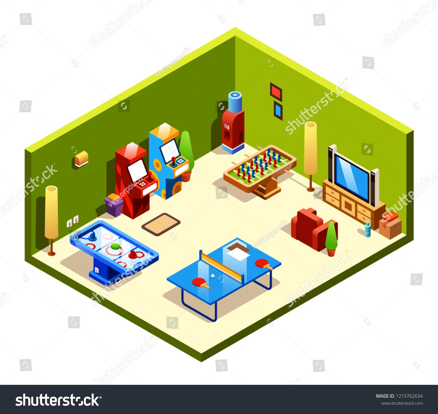 Isometric Cross Section Recreation Room With Entertainment And Amusements Table Tennis Or Ping Pong Foosball An Entertaining Kids Playmat Entertainment Room