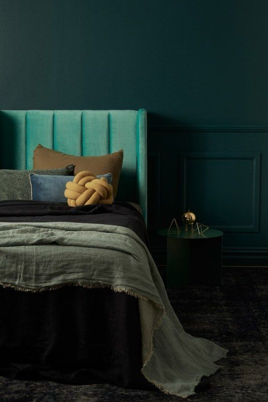Green Moody Color Palette With Bold Dark Shades And Geometric Decorations