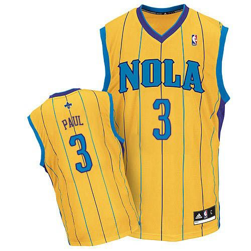 517068bb7b5 Adidas New Orleans Hornets 3 Chris Paul Yellow NBA Jerseys ...
