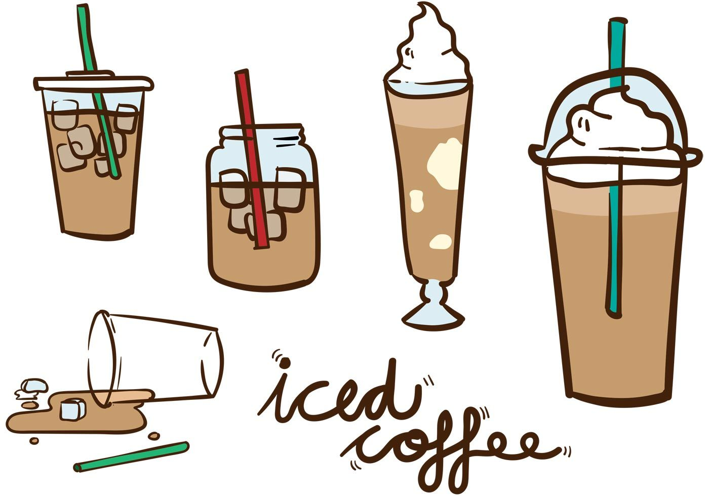 Iced Coffee Vector Pack Coffee vector, Iced coffee