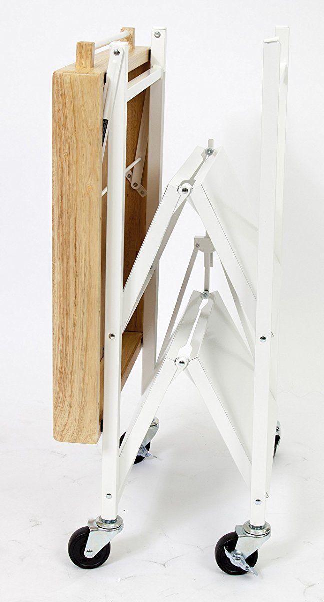 Origami Foldable Kitchen Island Cart White