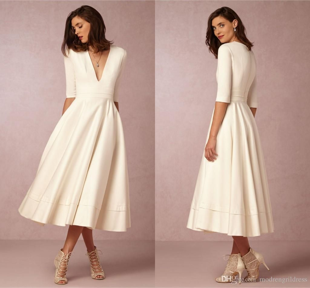 Simple Wedding Dress Hire: Simple Half Sleeves 2016 Bhldn Formal Evening Gowns Deep V