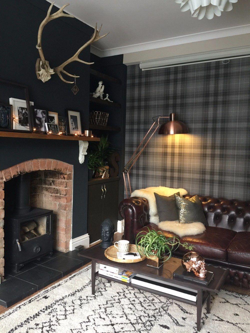 Black England Home Living Room Snug Room Wallpaper Living