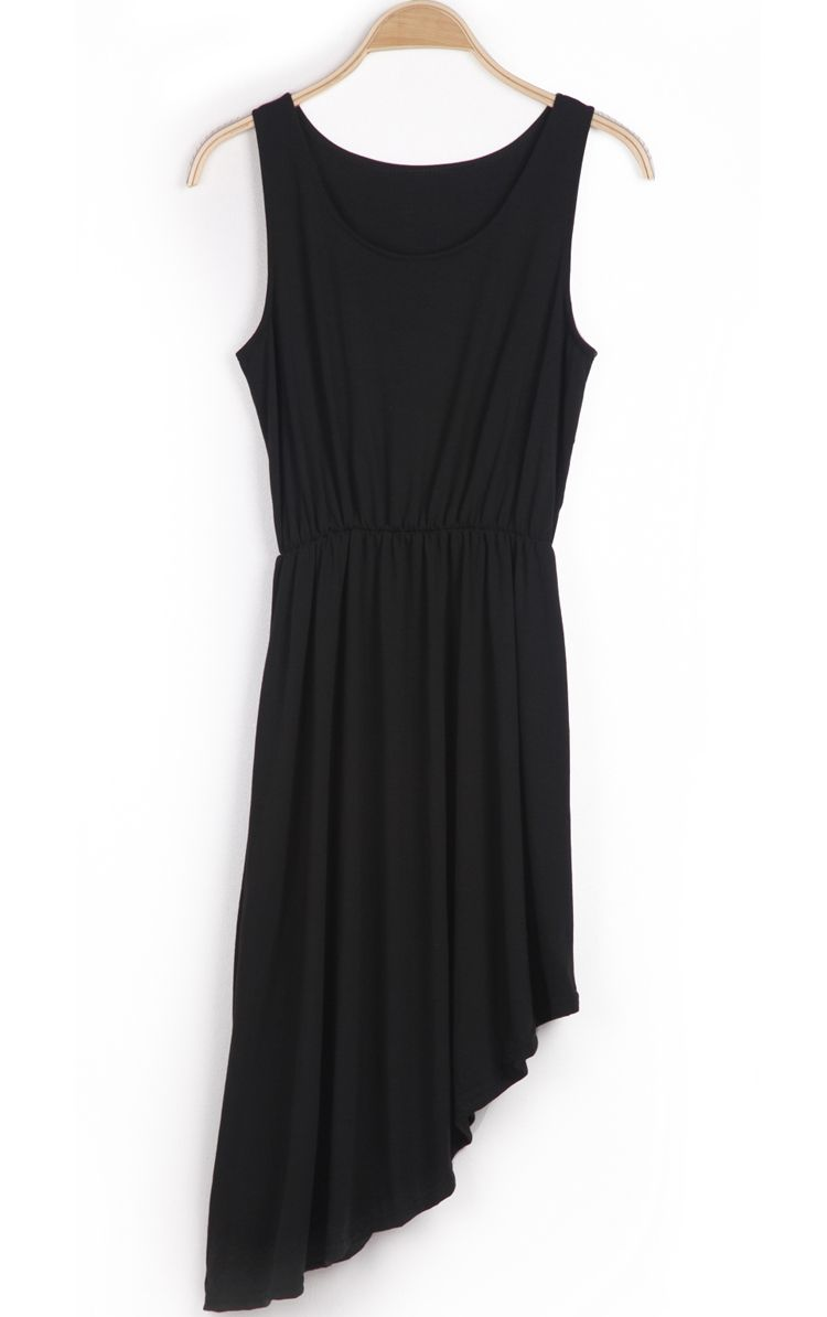Black Sleeveless Pleated Asymmetrical Cotton Dress #blacksleevelessdress