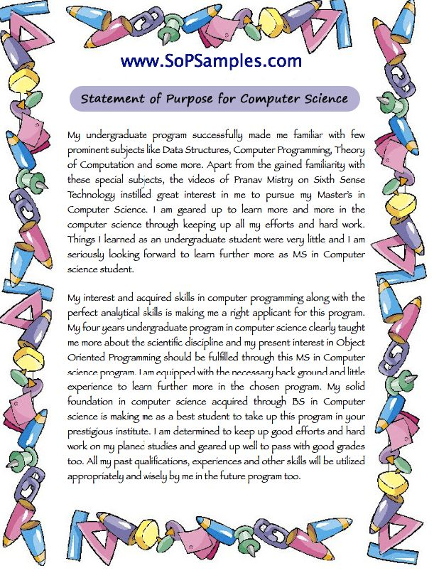 sample statement of purpose for computer science sop samples sample statement of purpose for computer science