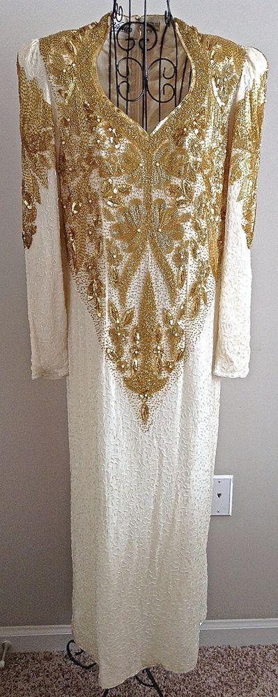 Vintage Vivvie 100% Silk Sequin Beaded Faux Pearl Dress Gown Ivory Size XL #Vivvie #StraightandFitted