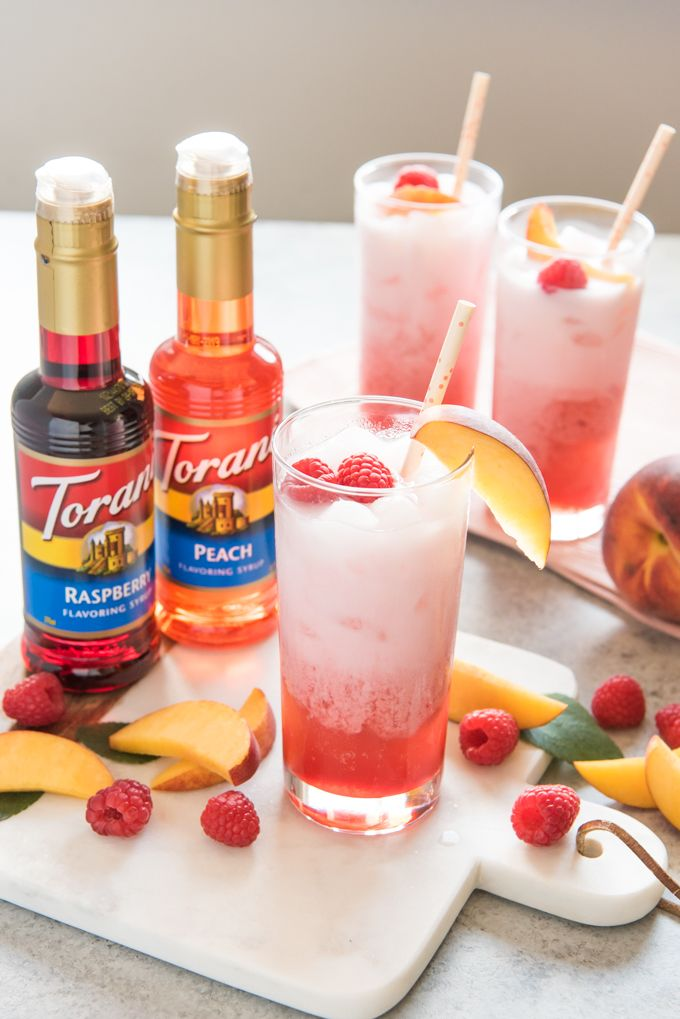 Raspberry Peach Italian Cream Sodas Recipe Food Italian Cream Soda Soda Recipe Cream Soda