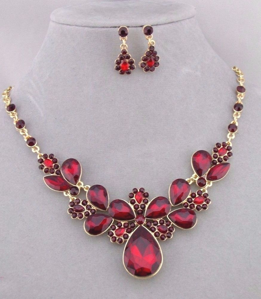 Red Rhinestone Necklace Earrings Set Gold Fashion Jewelry New Memechic