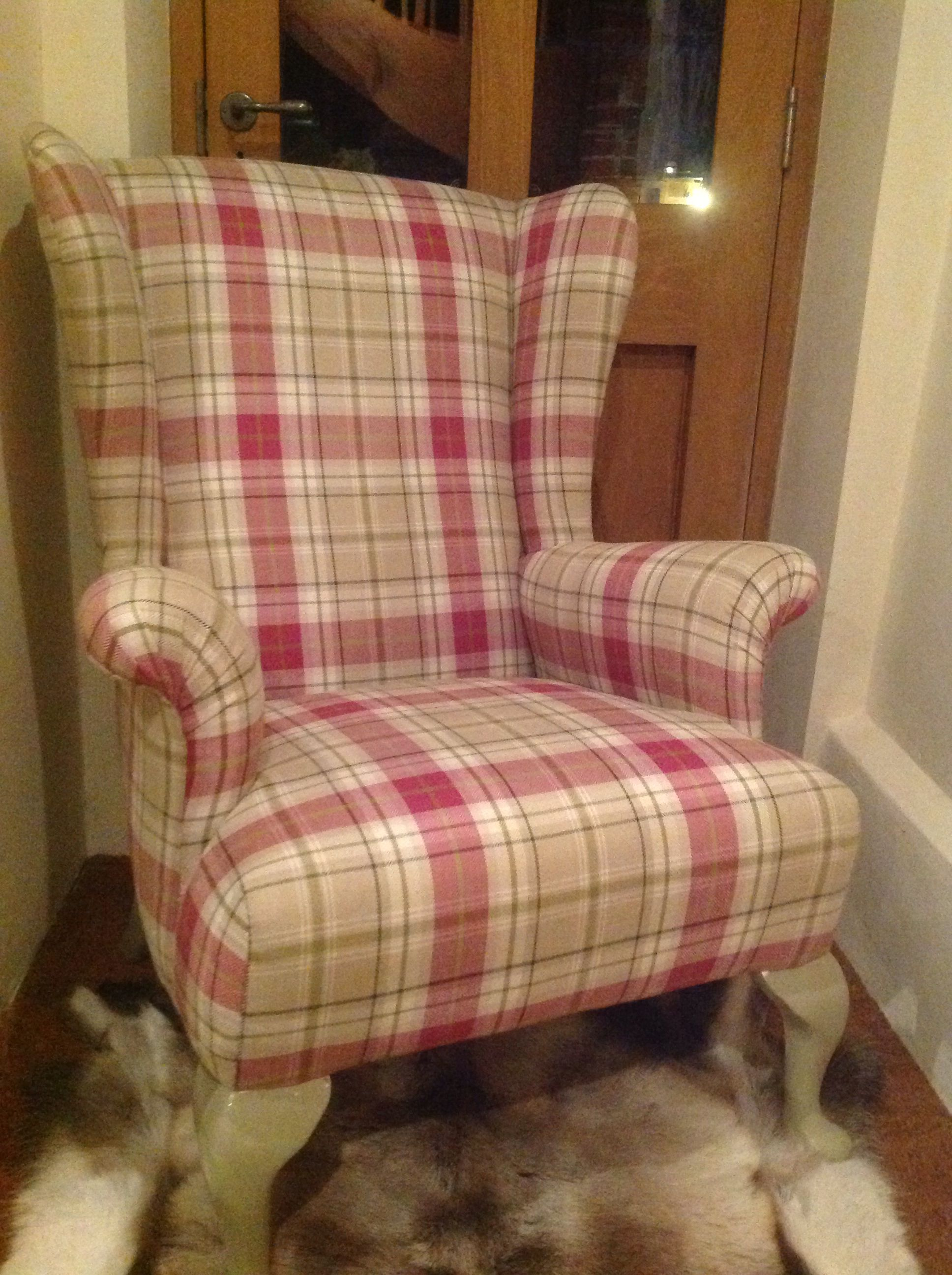 Parker knoll reupholstered in pink and green tartan fabric
