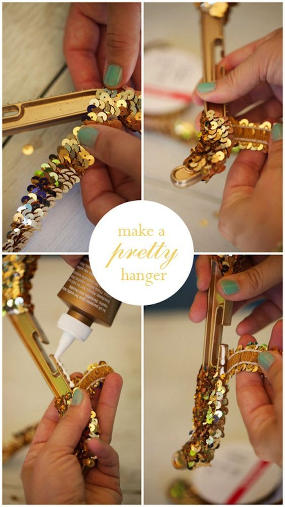 DIY Gold Sequin Hanger from | Swap party | Gold diy ...