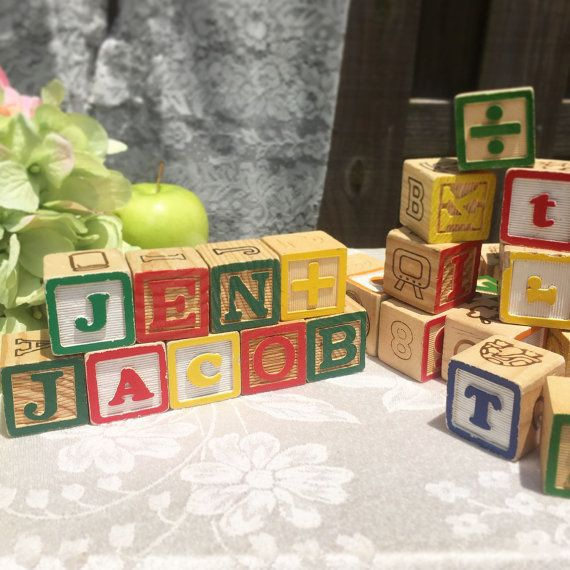 12 Wood Letter Blocks, Alphabet Letters, Nursery Decor Play