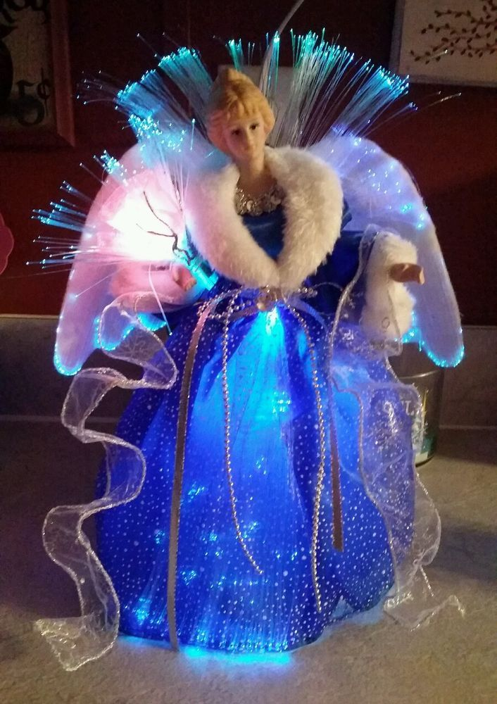 FIBER OPTIC ANGEL CHRISTMAS TREE TOPPER LED COLOR CHANGING TABLE WHITE GOLD