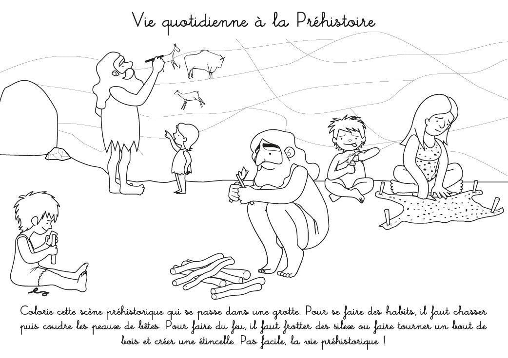 Coloriage à imprimer : Vie quotidienne à la Préhistoire ...