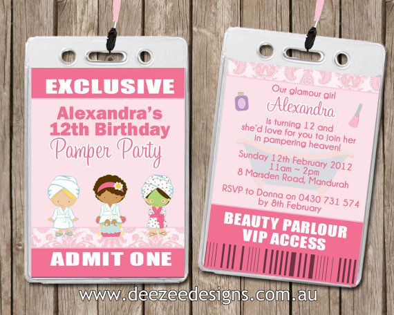 pamper spa party personalised vip lanyard birthday by deezeedesign - Pamper Party Invitations
