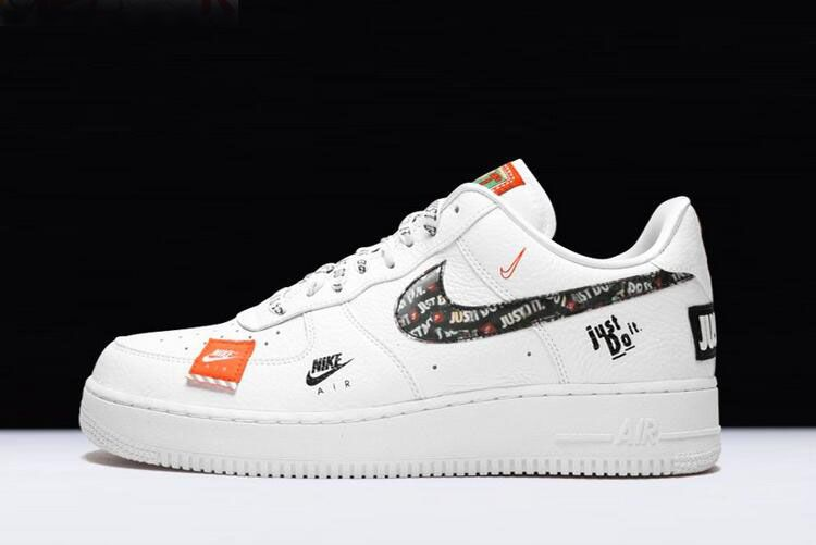 "newest 41fe6 100cf Nike Air Force 1  07 Premium ""Just Do It"" White Black-Total Orange AR7719 -100"