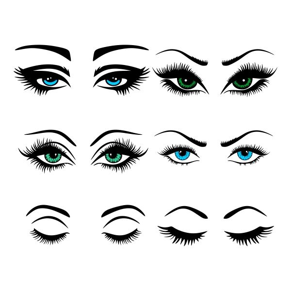 Eye Lashes Cuttable Design Cut File. Vector, Clipart