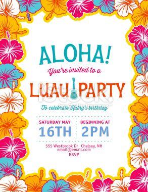 Aloha hawaiian luau party invitation with hibiscus flowers summer aloha hawaiian party invitation royalty free stock vector art illustration stopboris Choice Image