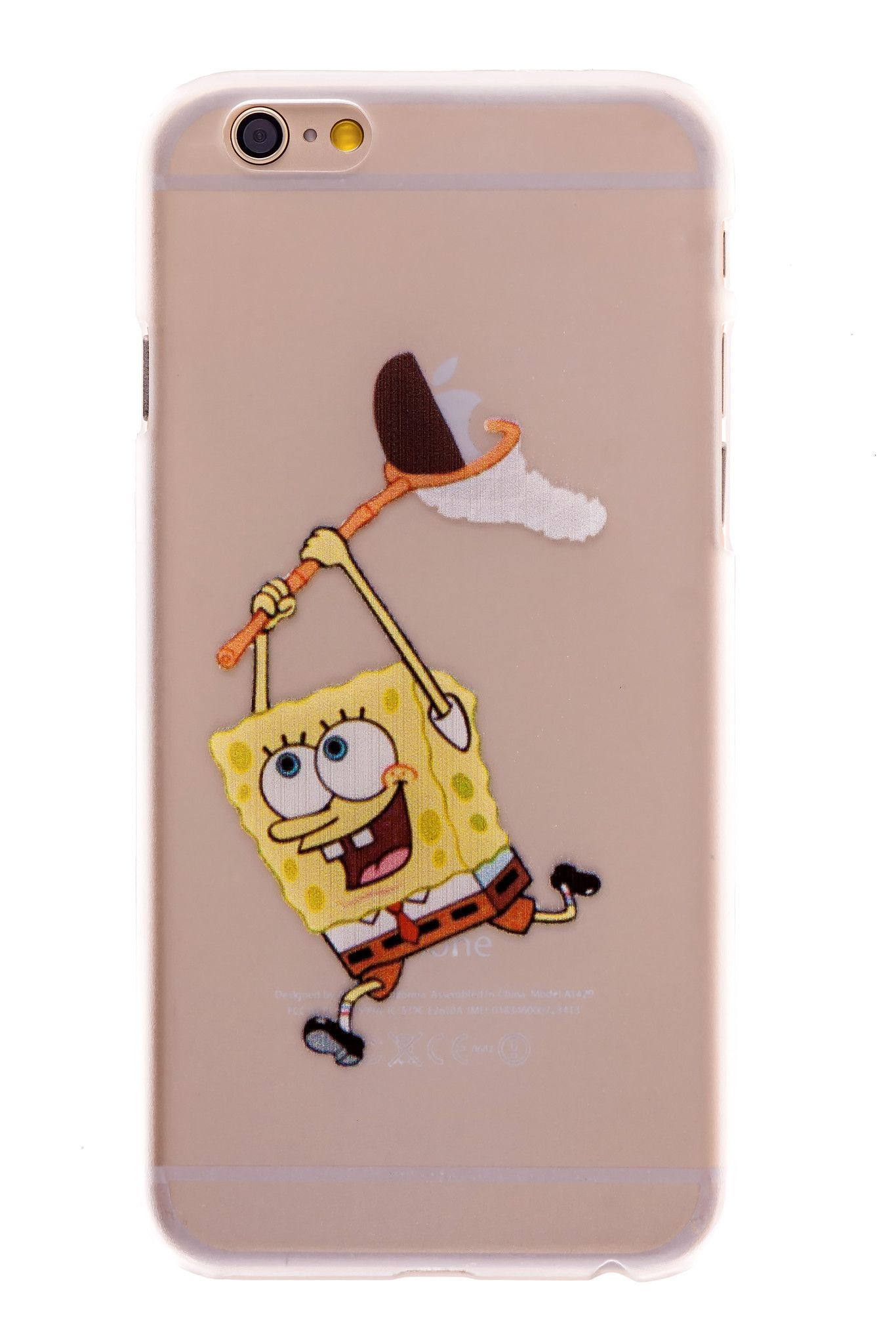 spongebob transparent back cover case for iphone 6 plus phone