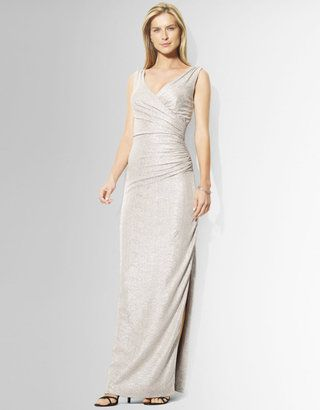 8e8276e7f697 ShopStyle: Lauren Ralph LaurenMetallic Shirred Column Gown ...