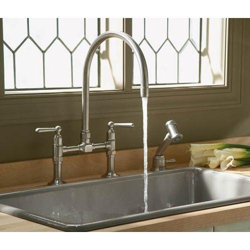 Kohler K7337 4 S Hi Rise Two Handle Kitchen Faucet   Polished Stainless