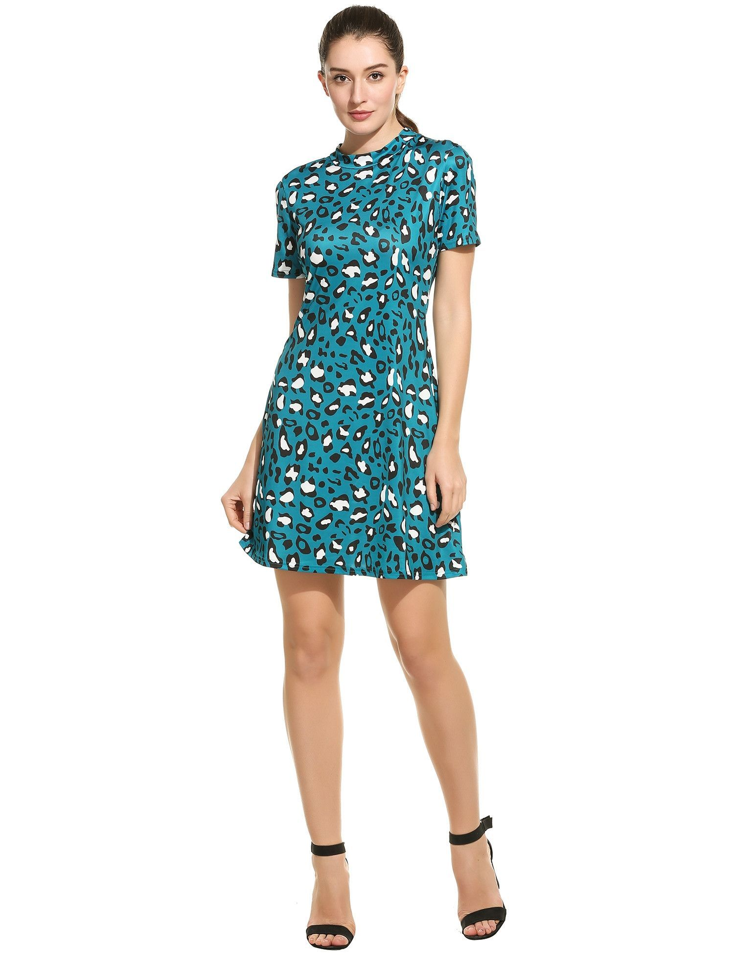Lake blue stand collar short sleeve leopard prints pleated casual