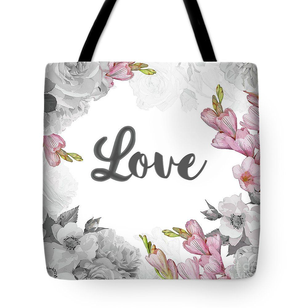 Floral Tote Bag Featuring The Digital Art Floral Design By Donika