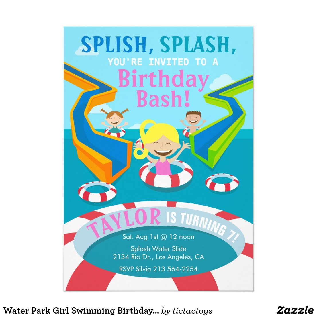 Water Park Girl Swimming Birthday Party Invitation | Water floaties ...