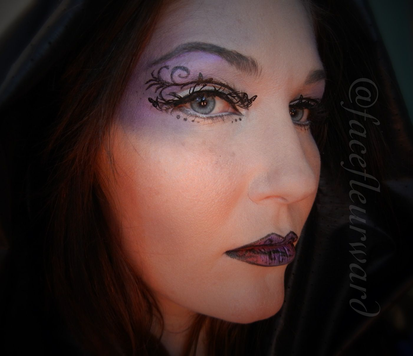 Evil Sorceress makeup? This is the Dark Forrest Elf I have been working on. Black, purples, and ...