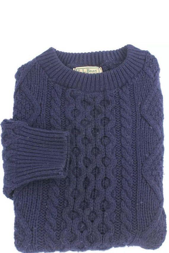 Vintage Ll Bean Cable Knit Wool Sweater Mens By Vintagebyrygranllc