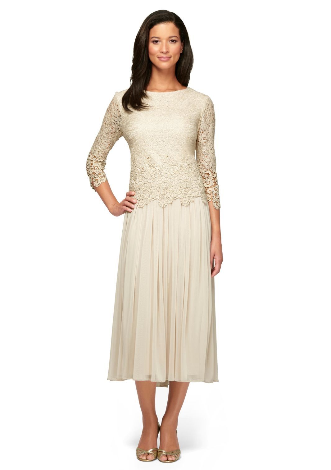 de3487aa7f1 Alex Evenings 117219 Stretch Tulle T-length Mock 2 pc Dress with Illusion  Sleeves and Scallop Detail