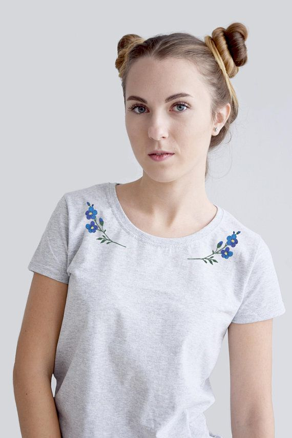 5c25852f45ebe4 Forget me not embroidered tshirt, hand embroidery shirt, blue flowers t- shirt,