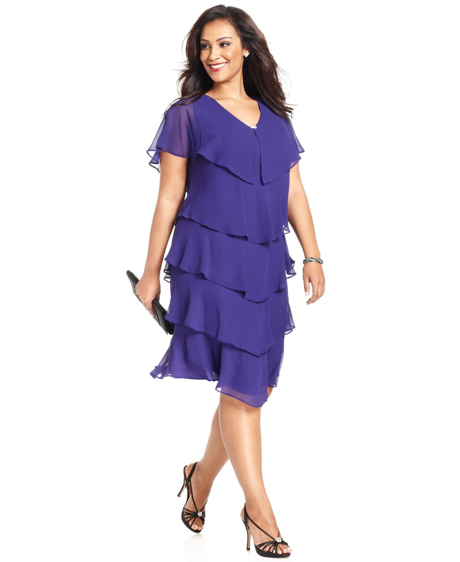 Patra Plus Size Short-Sleeve Tiered Dress -Macy\'s | Mother of the ...
