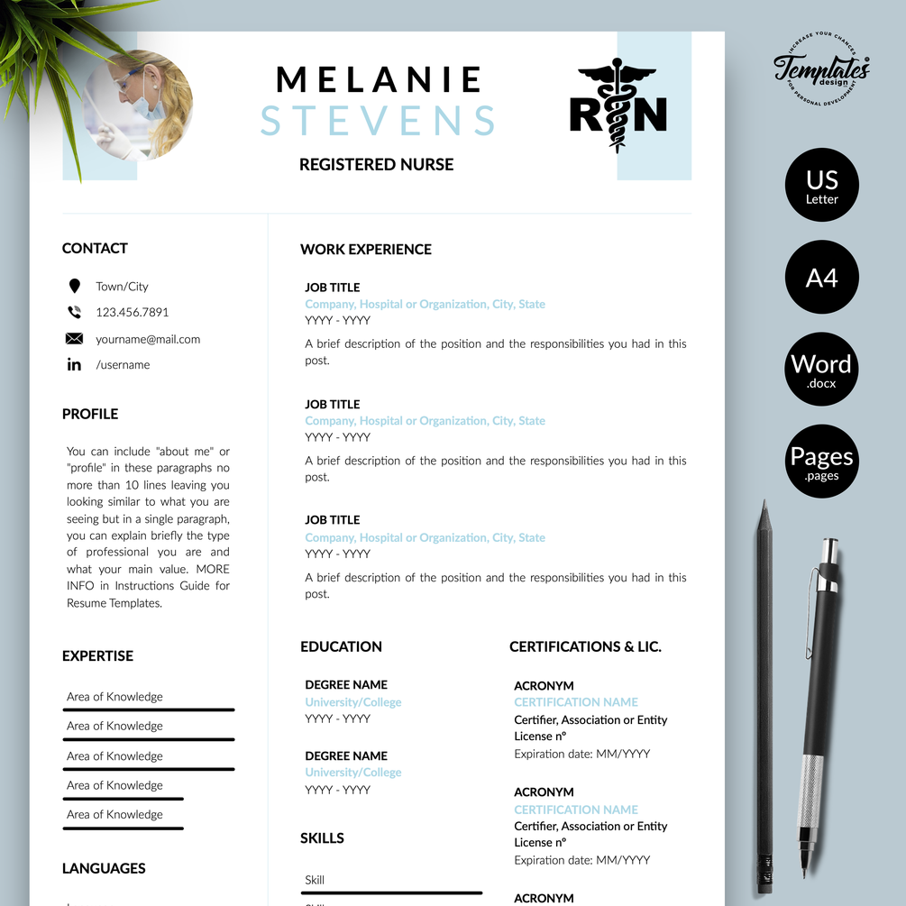 """Melanie Stevens"" Nurse Resume CV Template for Word"
