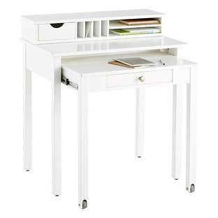 $299 At The Container Store   White Solid Wood Roll Out Desk