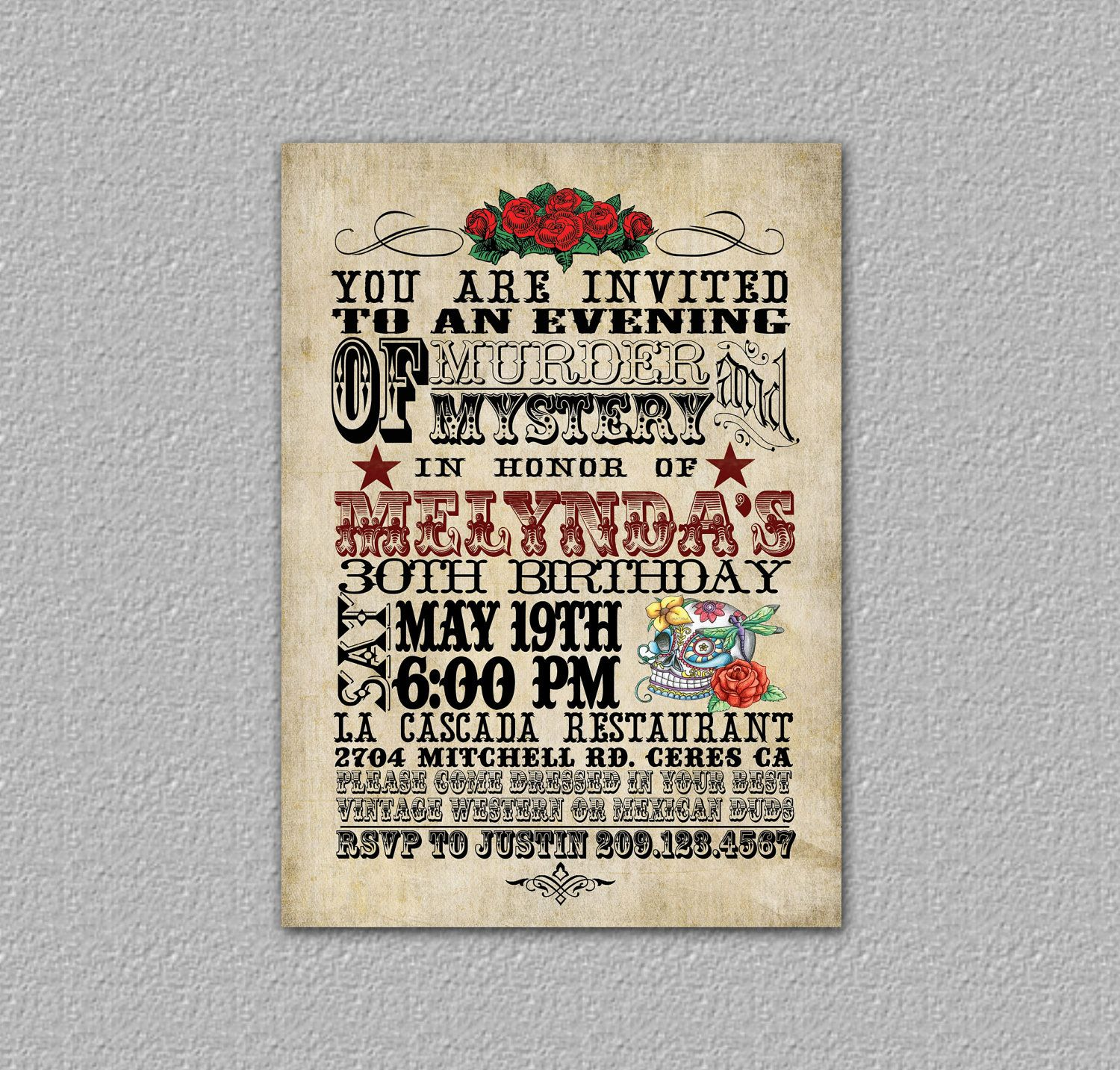 Western Birthday Invitation Day Of The Dead Invitation Skull - Day of the dead party invitation template